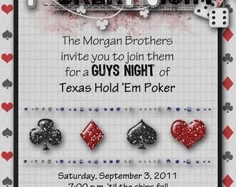 Game Night, Poker, Guy's Night Invitation, Digital, Cards