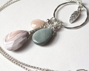 Pink Botswana Agate, Hawks Eye, Peach Moonstone Sterling Silver Necklace