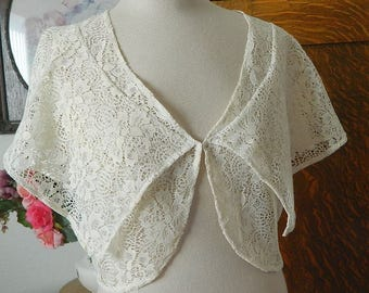 Ivory Lace Vest - Shrug - Shawl
