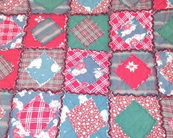 TWIN Red, Teal, Burgundy Flannel Rag Quilt Handmade Recycled Fabrics