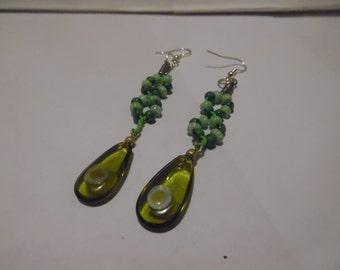 Shades of Green Beaded Earrings