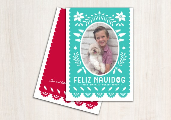 Feliz Navidog Christmas Photo Card - Picado Flag Holiday Pet Card - Printed Double Sided