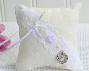 Dainty pincushion , handmade Swedish primitive ring bearer pillow, clock decoration