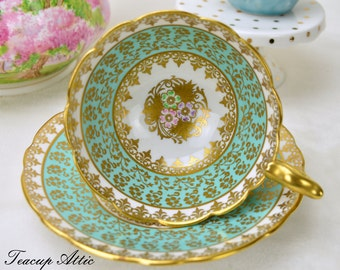 Royal Stafford Green And Gold Teacup and Saucer With Hand Painted Floral Centers, Vintage English Bone China Tea Cup, ca. 1950