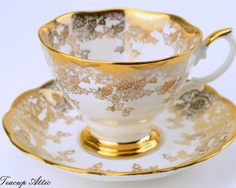 Royal Albert White and Gold Teacup and Saucer Set, English Bone China Tea Cup, Tea Party, ca. 1960-1970