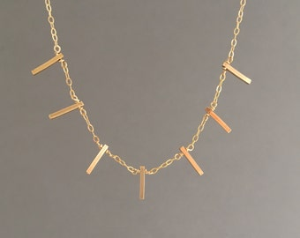 Seven Vertical Bar Necklace in Gold Fill Sterling Silver and Rose Gold Fill