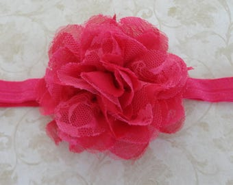 Baby Headband, Shocking Pink Lace & Chiffon Headband, Shocking Pink Infant Headband, Girls Headband, Flower Headband, Baby Bow Headband