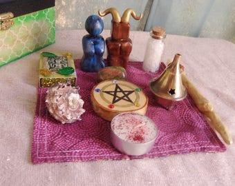 Small Wiccan Altar Set.  Dorm Altar. Travel Altar.