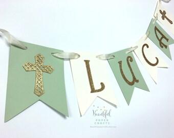 Baptism Decor | First Communion Cross Banner | Gold Glitter Religious Party Decor | Gold Glitter Cross | Christening Decorations