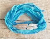 silk wrap bracelet, boho jewelry, feather bracelet, yoga jewelry