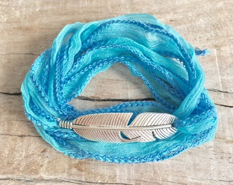silk wrap bracelet, boho jewelry, feather bracelet, yoga jewelry