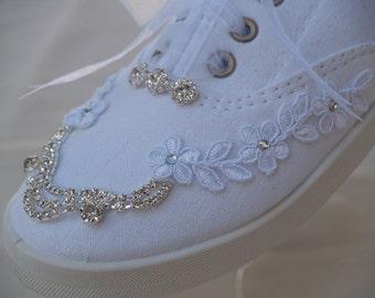 Wedding Bling Sneakers,White Canvas flat Bridal Shoe, Embellished Boho Wedding Shoes, Tennis Shoes, Bridal Sneakers Sizes 6 7 8 9 10