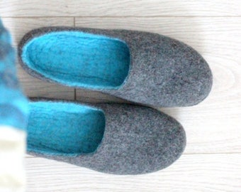 Felted slippers - men or women house shoes - unisex wool slippers - Father day gift - wool clogs - grey turquoise slippers