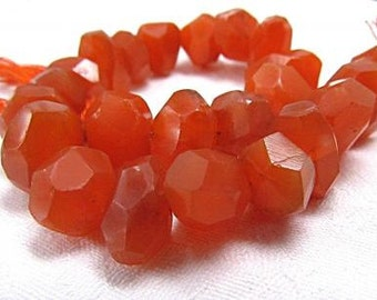 Carnelian, Natural, Irregular Bread Slice Faceted Unique Cut, Center Drilled Gemstone Beads