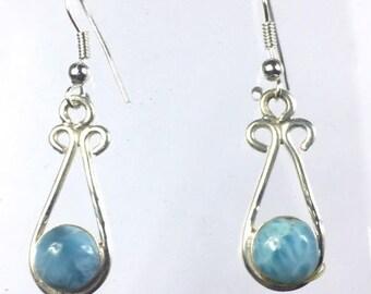 Beautiful Nice Blue Larimar Circular Dangle  Earring  41 mm