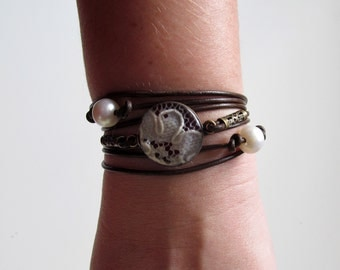 Leather, Lace, and Pearl Wrap Bracelet and Choker in One/ Can be made with your wedding dress lace or any sentimental material
