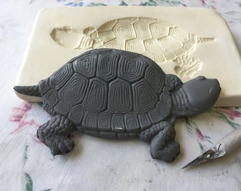 Clay Sprig Turtle Pottery Press Mold Relief Mold or Sprig Mold Bisque Clay Stamp for Ceramic Decoration and Texture White