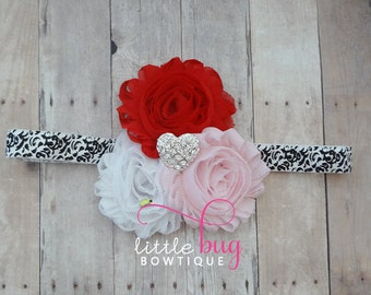 Heart Headband, Valentine Headband, Damask Headband, Red Headband, Pink Headband, White Headband, Girls, Baby, Toddler, Adult, Headband