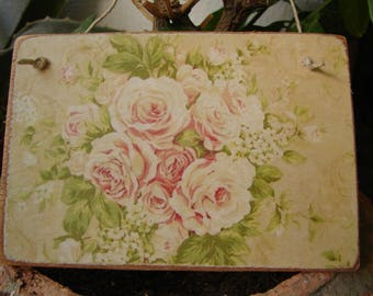 shabby old roses, vintage wallpaper image on wooden tag to hang on dresser, door etc.