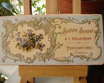vintage French soap, savon sign, Heliotrope soap, ornate advertising label on wood, French accents