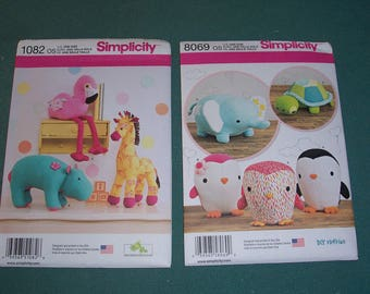 Simplicity 8069 or Simplicity 1082..Stuffed Animal Patterns..Cute Sewing Patterns for Flamingo..Hippo..Giraffe..Turtle..Penguin..Elephant..