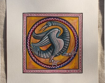Medieval Drake. Handmade watercolor painting. Available what is seen in the photo