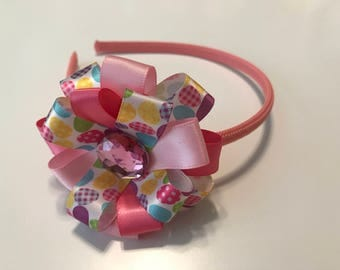 Pink Headband with Pink/Hotpink and Easter Egg Bow, Girls/Toddlers
