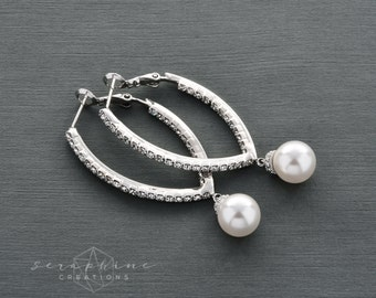Long Bridal Pearl Earrings Long Swarovski Pearls Wedding Jewelry Cubic Zirconia V Shaped Classic K050