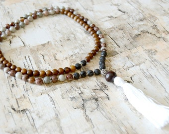 Courage. Mens Coffee Bean Jasper Mala Necklace