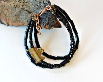 African bracelet, African jewelry, Black bead bracelet, Black bracelet, Trade bead bracelet, African black beads bracelet, Trade breads