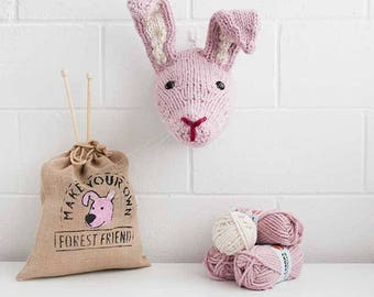 Faux Pink Hare Knitting Kit - Make Your Own Forest Friend - DIY Taxidermy Trophy Head Pattern