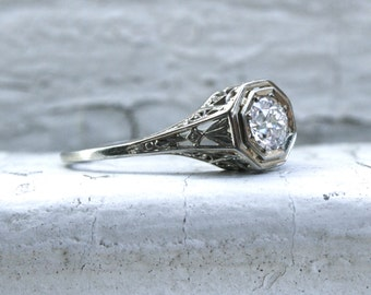 Vintage Filigree 18K White Gold Solitaire Diamond Engagement Ring - 0.55ct.