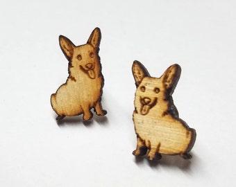 Corgi Dog Earrings   Laser Cut Jewelry   Hypoallergenic Studs   Wood Earrings