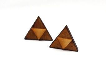 Triforce Zelda Earrings | Laser Cut Jewelry | Hypoallergenic Studs | Wood Earrings