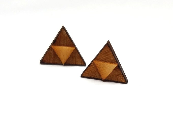 Triforce Zelda Earrings | Laser Cut Jewelry | Hypoallergenic Studs | Wood Earrings