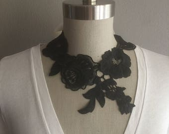Black Embroidered Necklace