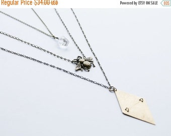 HOLIDAY SALE bee layer necklace, triangle layer necklace,  quartz layer necklace, crystal layer necklace, geometric necklace