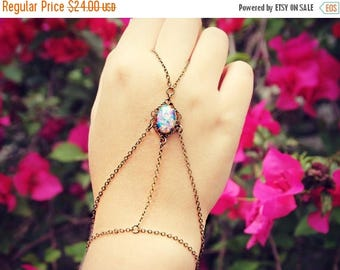 SUMMER SALE pink opal filigree slave bracelet, ring bracelet, slave ring, unique bracelet, opal ring