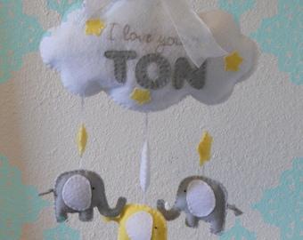 I Love You a Ton Sweet Dreams Elephant Baby Mobile- Felt Elephant Wall Hanging