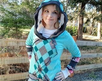 Blue Argyle Elf sweater, fairy hood, upcycled clothing, pixi hood, gypsy festival sweater, upcycled sweaters, boho hoodie, hippie