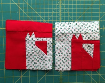 10 Total 5 1/2 inch x 6 inch Pieced Christmas Cat Quilt Quilt Blocks by Sew Practical, Mom and Pop Craft