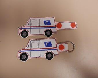 Mail truck,key fob,key chain,luggage tag,zipper pull, postal worker gift,snap tab