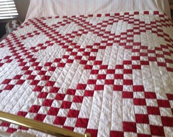 """Vintage Red and White HANDMADE/HANDQUILTED Soft Tavern Check- QUILT--67"""" x 69"""""""