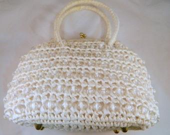 Vintage White Raffata and Clear Beaded 1960s Japanese Handbag  / White Woven Hobo Bag Purse / Handmade Vintage Purse