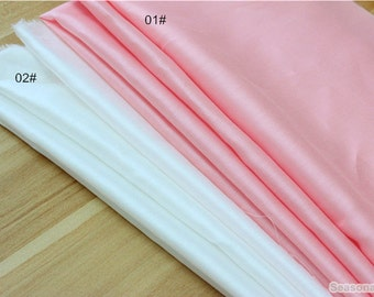 Summer Pure White/Pink Thin Cotton fabric, Soft, Smooth,Cotton Fabric, Breathable Pajamas fabric 1/2 yard  (QT1086)