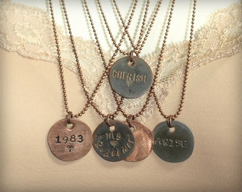 Penny Necklace |  Penny Charm | Shiny Hammered Penny | Hand Stamped Penny | Choose Your Word