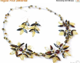 CHRISTMAS SALE Baltic Amber Necklace and Earrings Wedding set.