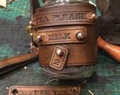 Adaptable Steampunk style mason jar mug cozy