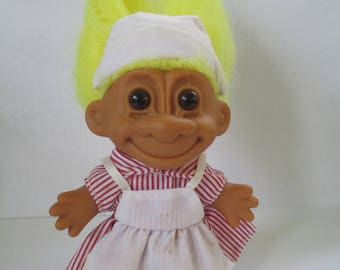 """Vintage RUSS collectible """" Candy striper Troll""""  doll yellow hair used"""