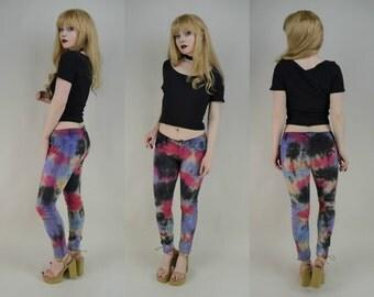 90s Grunge Punk Tie Dye Low Rise Stretch Skinny Jeans XS